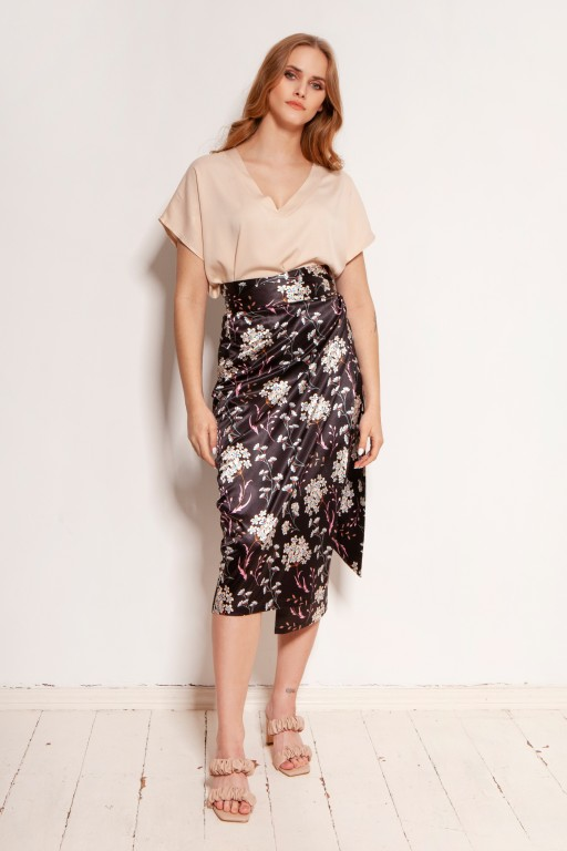 Pencil skirt tied with a sash, SP129 flowers