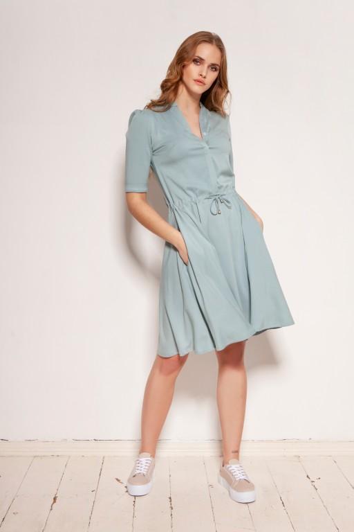 Sukienka z troczkiem i rozkloszowanym dołem, SUK195 miętowa