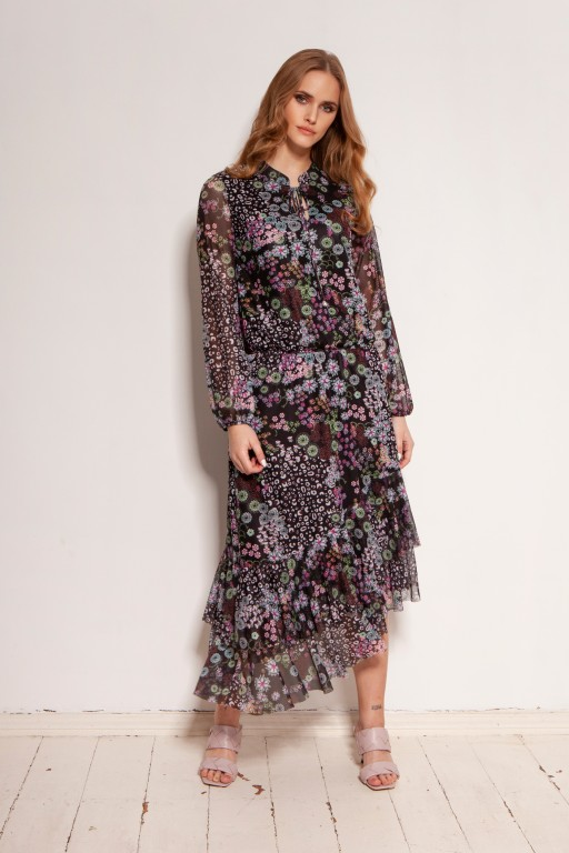 Sukienka we wzory, z siateczkowej tkaniny, SUK193 wzór