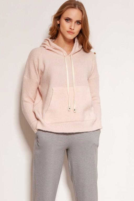 Mięciutka swetrowa bluza z kapturem, SWE140 różowy