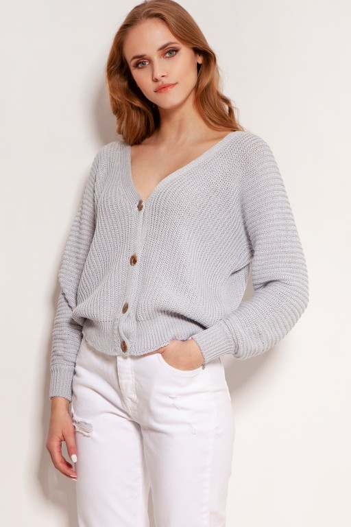 Cotton sweater with stripes and buttons, SWE142 grey