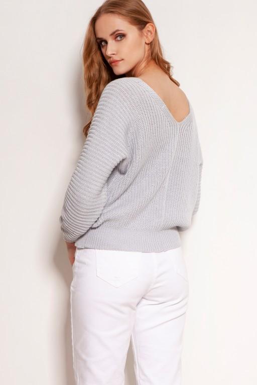 Bawełniany sweter w prążki, na guziki, SWE142 szary