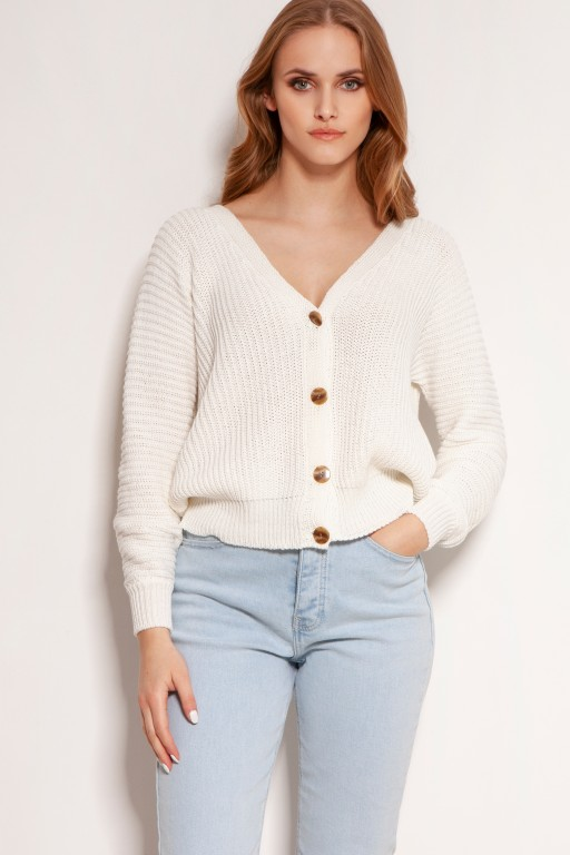 Bawełniany sweter w prążki, na guziki, SWE142 ecru