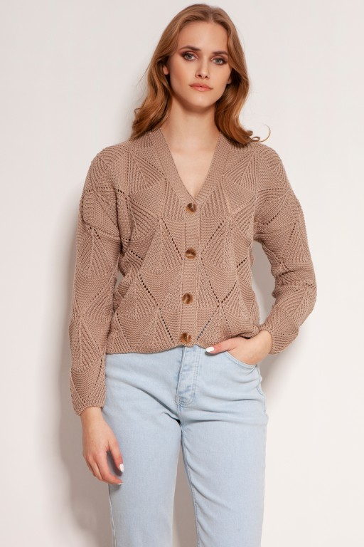 Openwork button-up sweater, SWE143 mocca