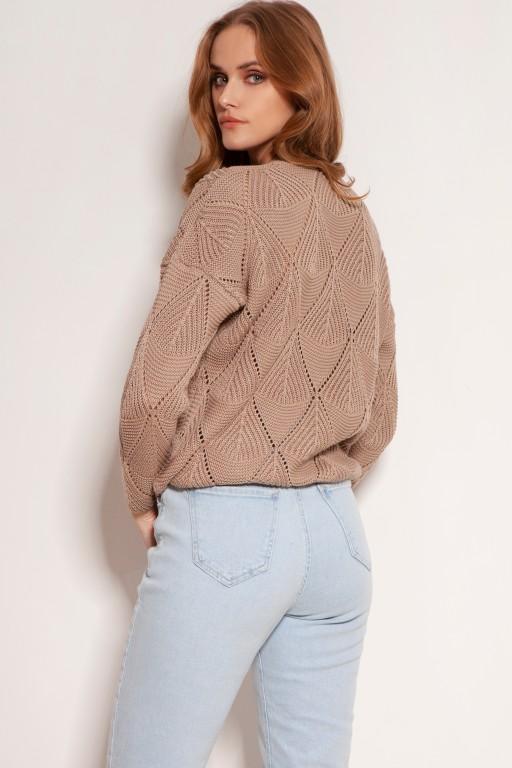 Ażurowy sweter na guziki, SWE143 mocca