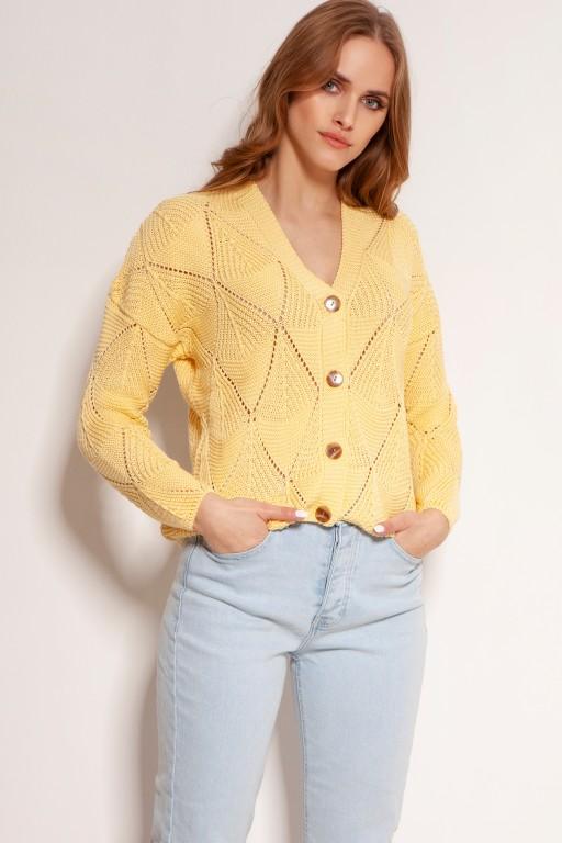 Ażurowy sweter na guziki, SWE143 żółty