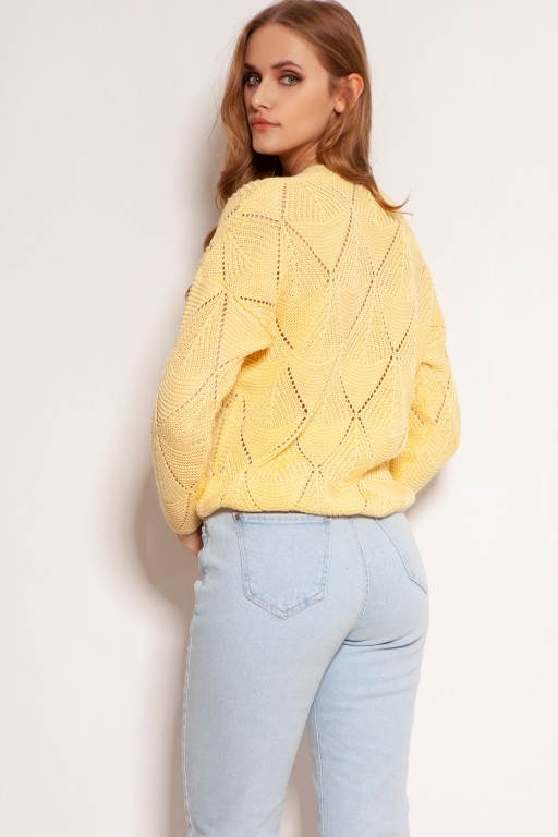 Openwork button-up sweater, SWE143 yellow