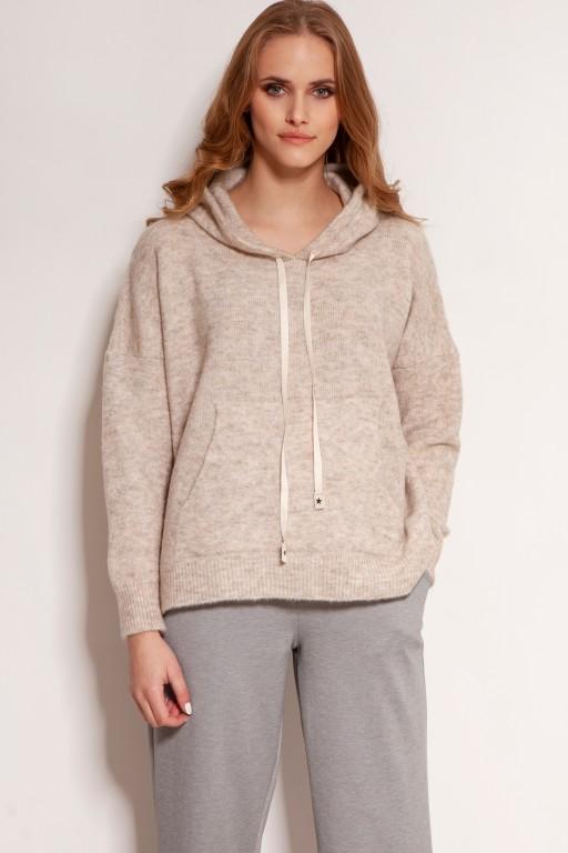A soft, sweater hoodie, SWE140 beige