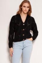 Openwork button-up sweater, SWE143 black