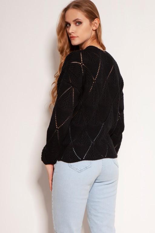 Ażurowy sweter na guziki, SWE143 czarny