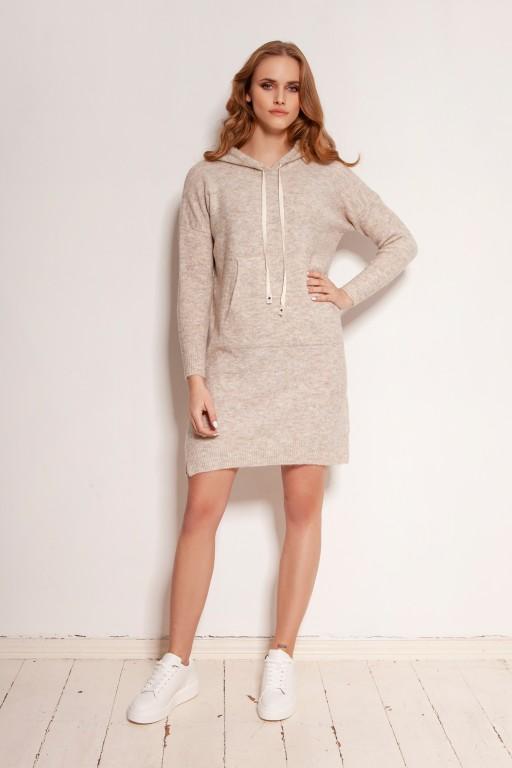 Dzianinowa sukienka - kangurka z kieszenią i kapturem, SWE141 beż