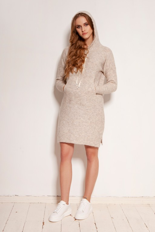 Knitted dress with pocket and hood, SWE141 beige