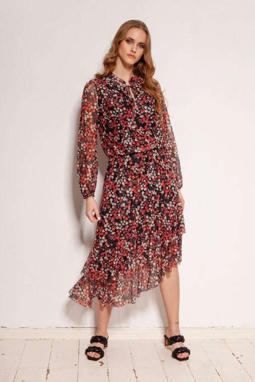 Sukienka we wzory, z siateczkowej tkaniny, SUK193 czerwony