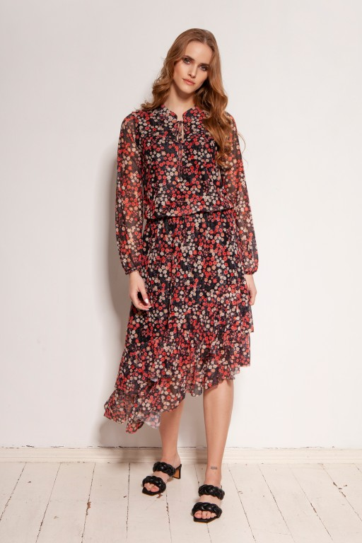 Patterned dress in mesh fabric, SUK193 red