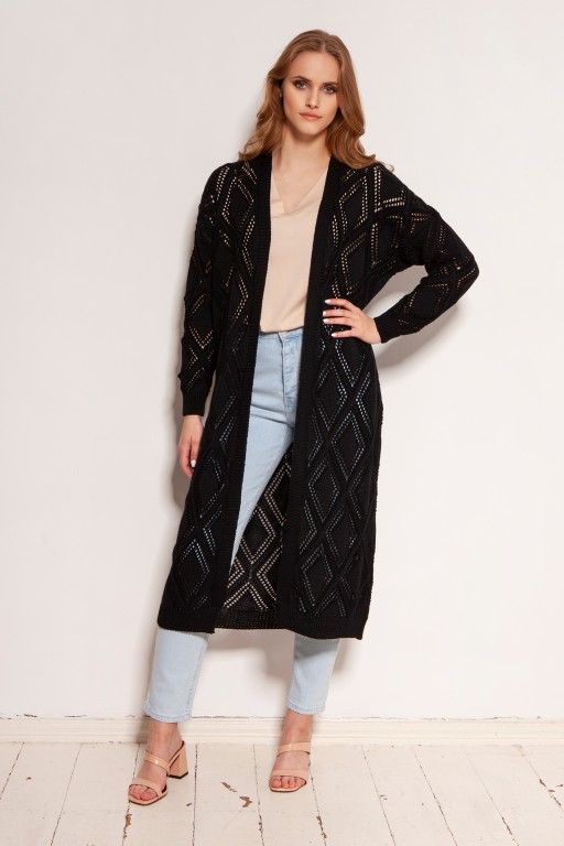 Long openwork cardigan - coat, SWE145 black