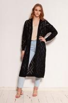 Long openwork cardigan - coat, SWE145 black