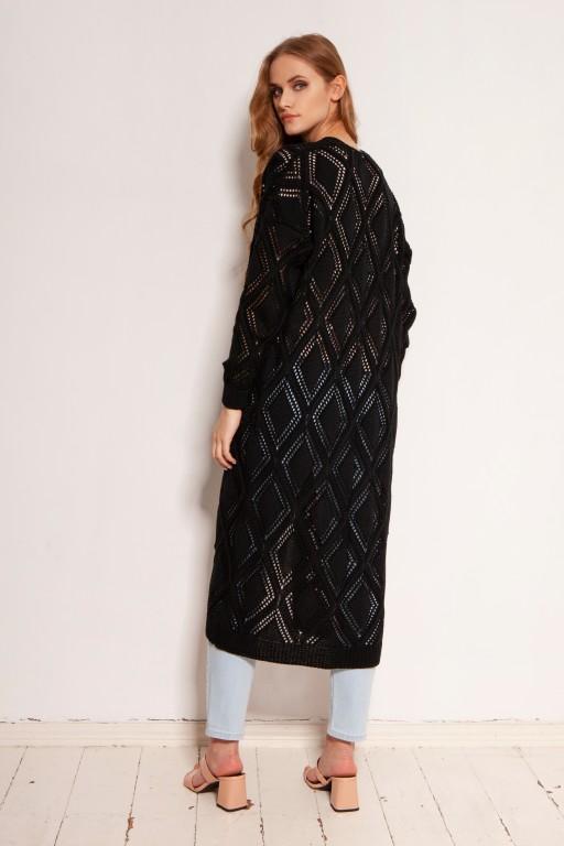 Długi ażurowy kardigan - płaszcz, SWE145 czarny