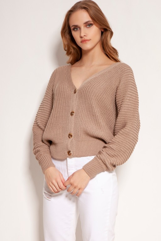 Cotton sweater with stripes and buttons, SWE142 mocca