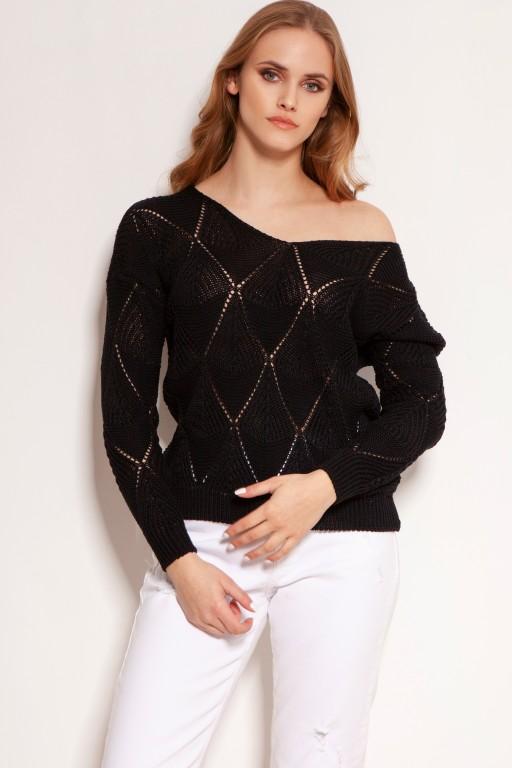 Ażurowy sweterek, SWE144 czarny