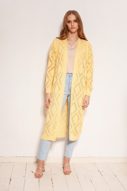 Long openwork cardigan - coat, SWE145 yellow