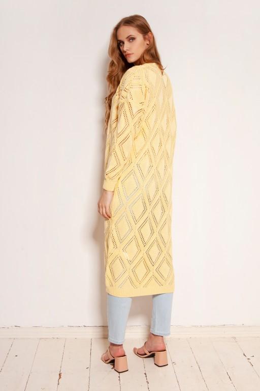 Długi ażurowy kardigan - płaszcz, SWE145 żółty