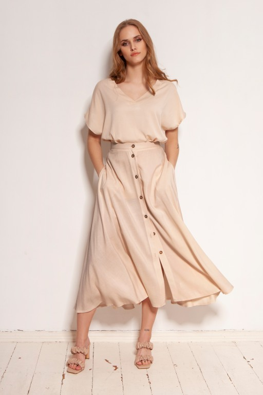 Button-down skirt, midi, SP131 beige