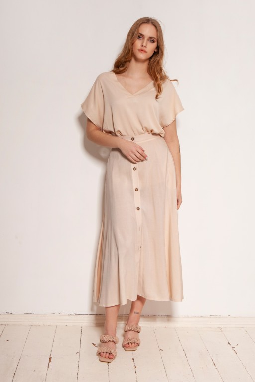 Button-down skirt, midi, SP131 beige