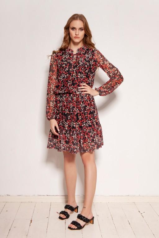 Wzorzysta sukienka z siateczki, z falbanami, SUK194 czerwona