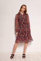 Patterned mesh dress with ruffles, SUK194 red
