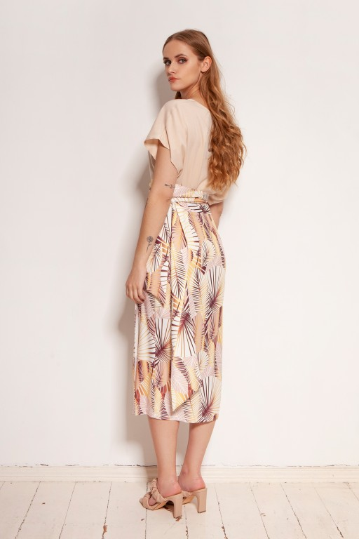 Pencil skirt tied with a sash, SP129 leaves