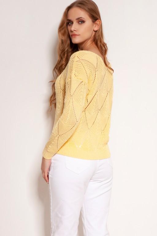 Ażurowy sweterek, SWE144 żółty