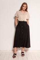 Button-down skirt, midi, SP131 black