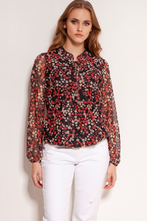 Mesh fabric blouse, BLU150 red