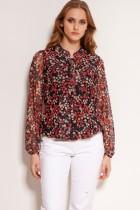 Mesh fabric blouse, BLU150 red