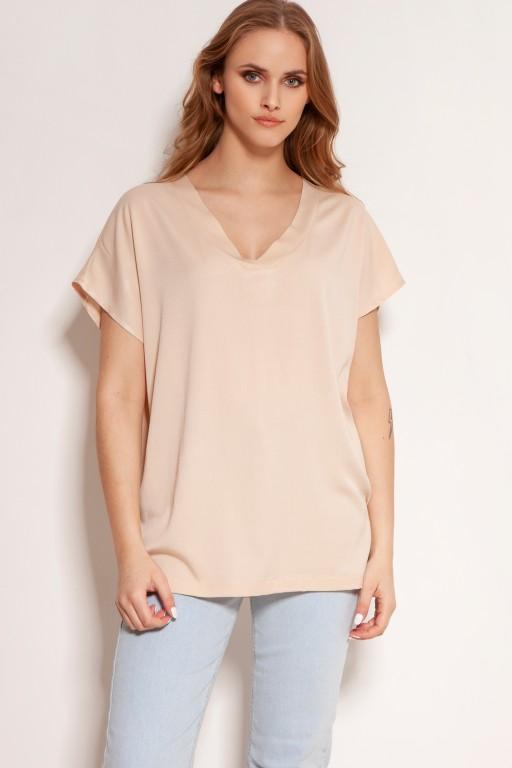 Wiskozowy t-shirt w serek, BLU151 beżowy