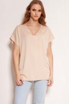 Viscose V-neck t-shirt, BLU151 beige