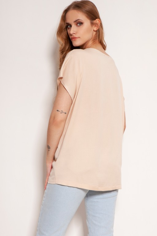 Viscose V-neck t-shirt, BLU151 beige