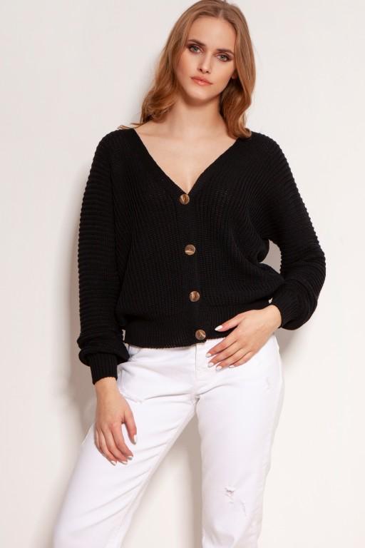 Bawełniany sweter w prążki, na guziki, SWE142 czarny