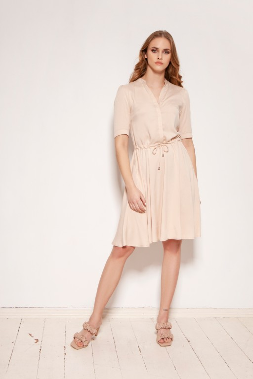 Dress with a drawstring and a flared bottom, SUK195 beige