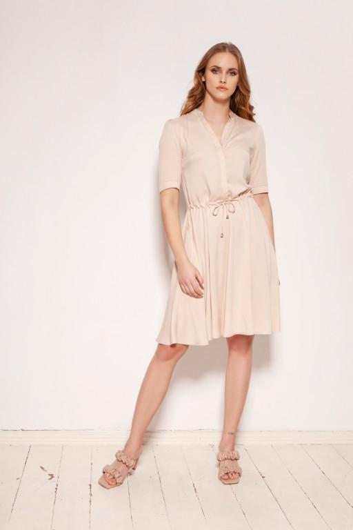 Sukienka z troczkiem i rozkloszowanym dołem, SUK195 beżowa