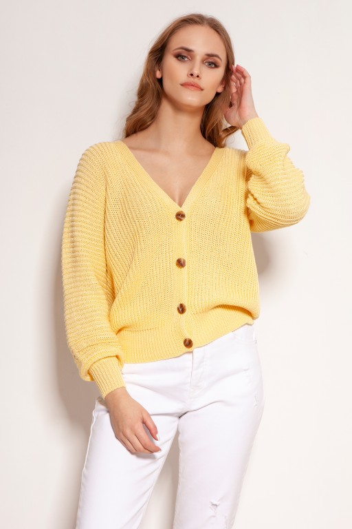 Cotton sweater with stripes and buttons, SWE142 yellow