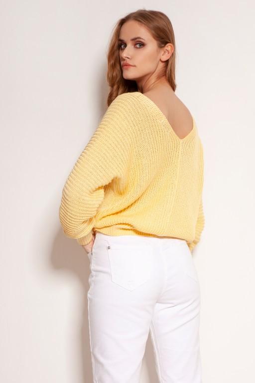 Bawełniany sweter w prążki, na guziki, SWE142 żółty