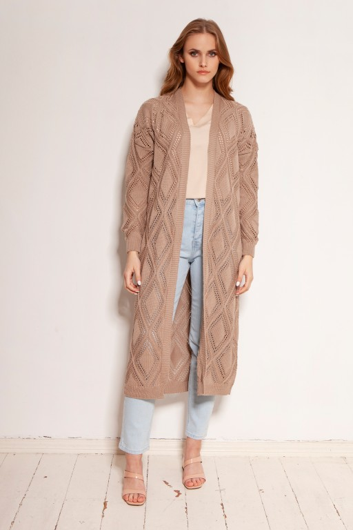 Long openwork cardigan - coat, SWE145 mocca