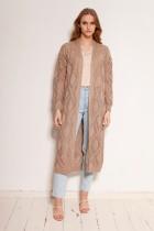 Długi ażurowy kardigan - płaszcz, SWE145 mocca