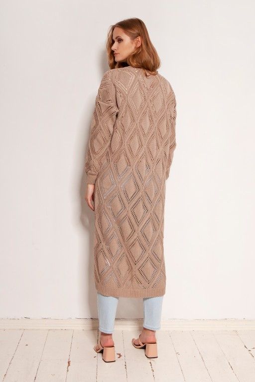 Long openwork cardigan - coat, SWE145 mocca