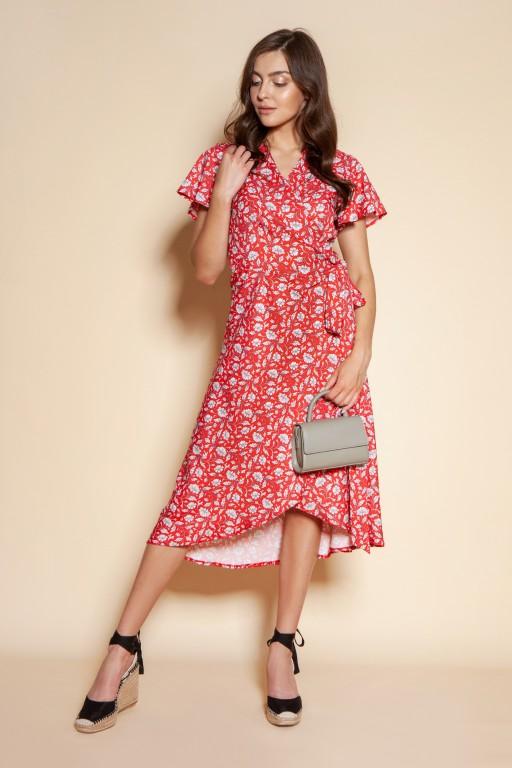 Kopertowa sukienka z asymetrycznym dołem, SUK198 czerwony wzór