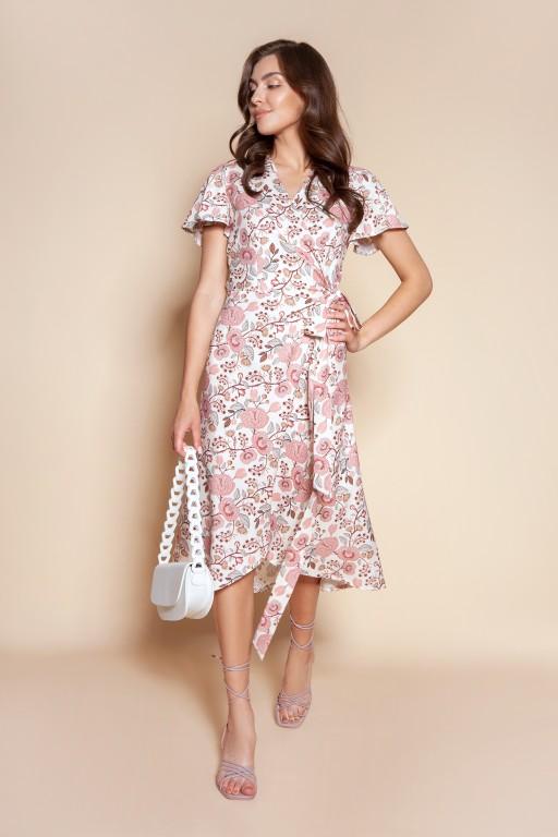 Kopertowa sukienka z asymetrycznym dołem, SUK198 różowy wzór