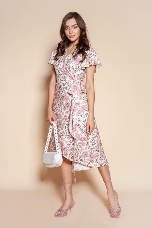 Wrap dress with an asymmetrical bottom, SUK198 pink pattern