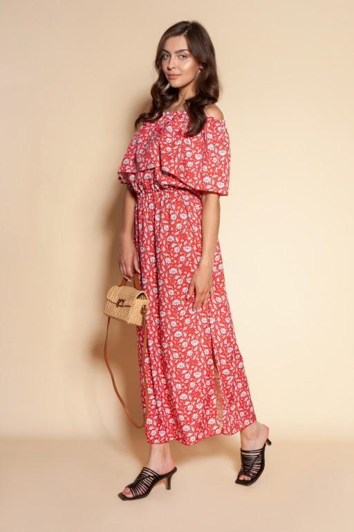Długa sukienka hiszpanka z rozcięciem, SUK200 czerwony wzór