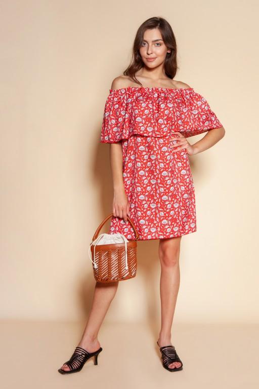 Short off-the-shoulder dress, SUK201 red pattern